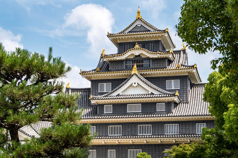 "The day after the Shimanami Kaido, my body was a bit of a wreck, so I had a nice easy day of seeing some pretty things in the area.  Okayama Castle is known as the ""Crow Castle"" because it is painted black.  It's a nice looking building."