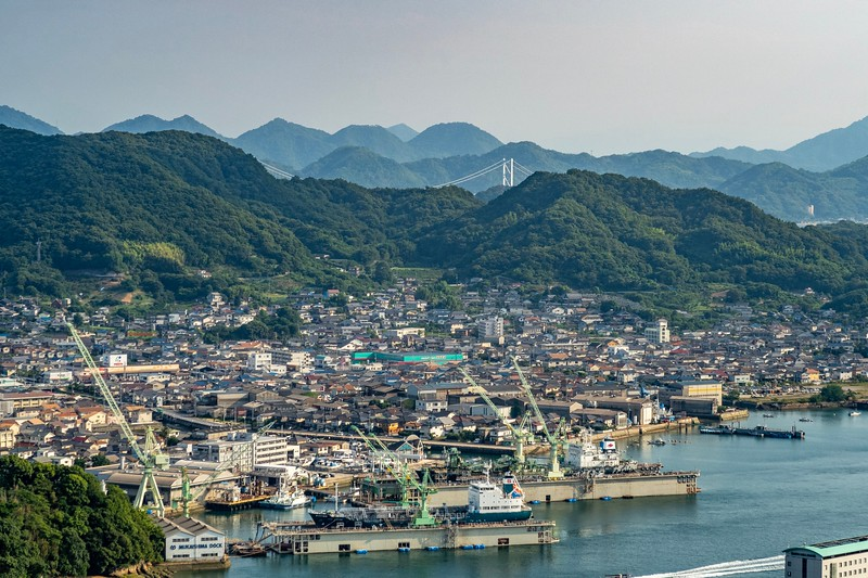 The photos don't do a great job showing the amazing view from the mountains above Onomichi.  You can see the first bridge of the Kaido in the background.