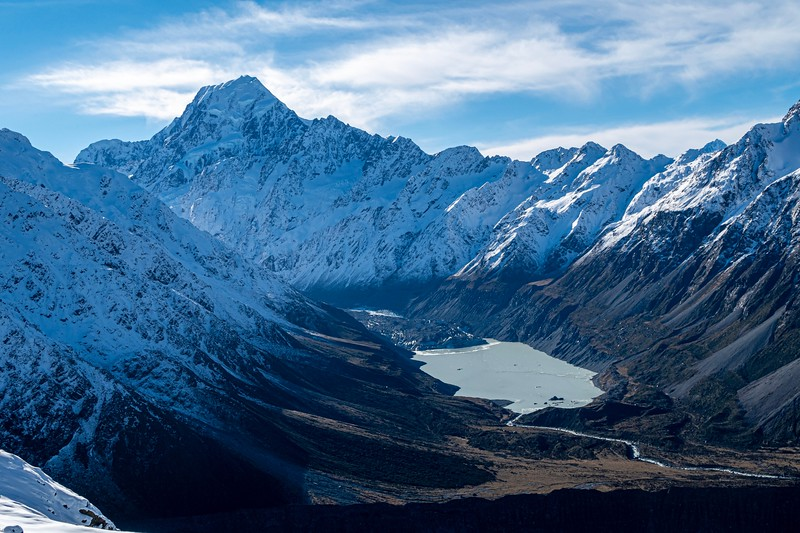 Mt. Cook.  Notice the glacier feeding Hooker Lake at the base of the mountain.