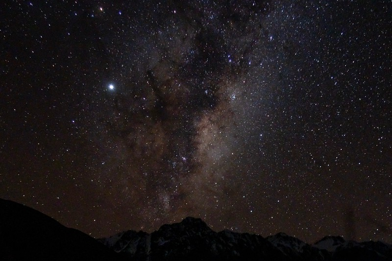 One of the nice benefits of Mt. Cook being in the middle of nowhere is that the night skies were incredibly beautiful.  On my last night there, the clouds were gone and I got a few shots of the sky.