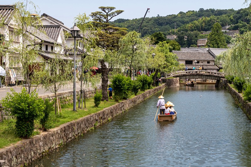 Near Okayama, I visited a quaint little town called Kurashiki.  Its claim to fame is a nice historical quarter with canals running through it.  It's a bit of a tourist trap, but still nice.