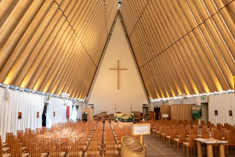"The Christchurch Cathedral was destroyed by the Earthquake.  In place of the cathedral, the people of Christchurch built a temporary cathedral.  The walls are made from shipping containers and the beams holding up the roof are partially made from cardboard - giving the church the name the ""Cardboard Cathedral"".  The building stands as a testament to the resiliency of the residents of Christchurch."