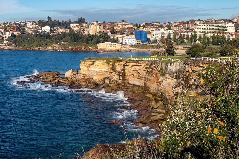 The next day, I went for a tour of some of Sydney's famous beaches.  While they weren't too busy (being winter of course...) - there were still several surfers having a good time out there.  This is a shot of Coogee Beach.  There's an amazing path that leads from this beach (the actual beach is in the background) - by the coastline - to Bondi Beach.