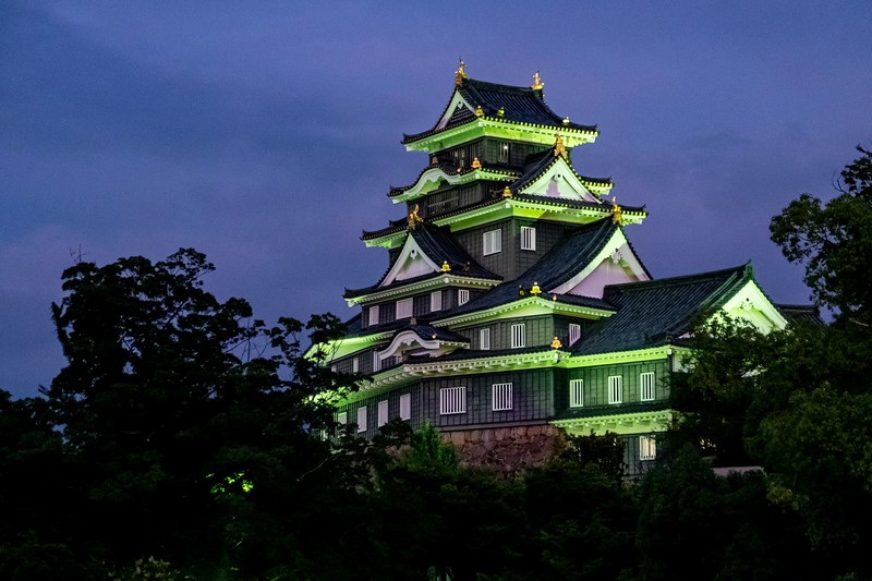 I returned to Okayama for my last night in the town and stopped by the castle to see it lit up at night - quite nice!