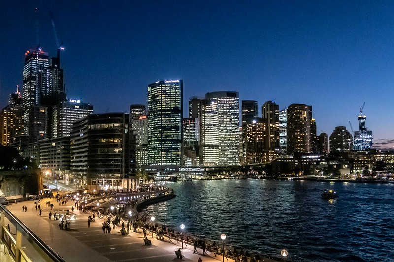Circular Quay waterfront at dusk