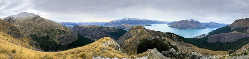 A panorama atop the morning hike.  The terrain around Queenstown is quite dramatic.