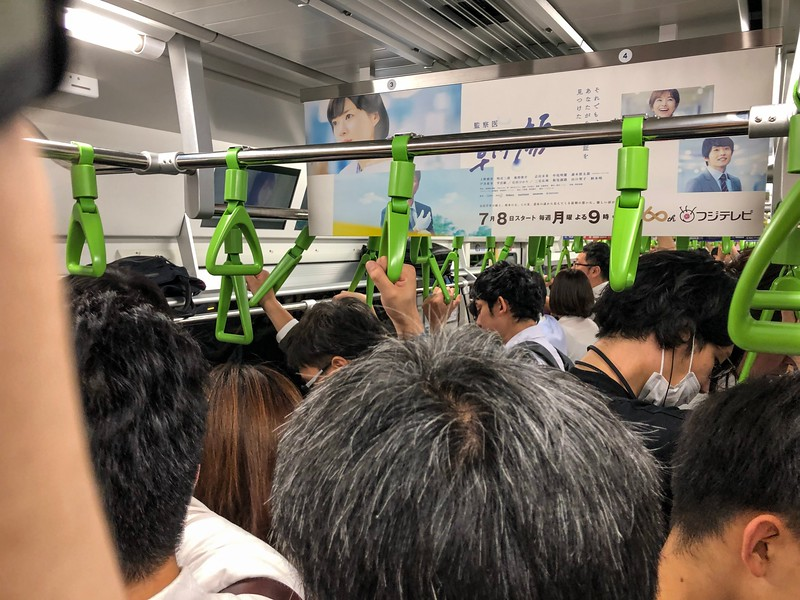 This is the Yamanote Line - this train line simply circles Tokyo and it can be a bit nuts at times.   Trains are how Tokyo runs.  The station I stayed near (Shinjuku Station) is the train station with the highest number of passengers passing through it - 1.26 BILLION people a year.  For reference, the busiest station in the US (Penn Station) carries 107 million people per year.  If you want to have fun, try taking a heavily loaded suitcase on one of these trains during the morning rush hour...great fun!