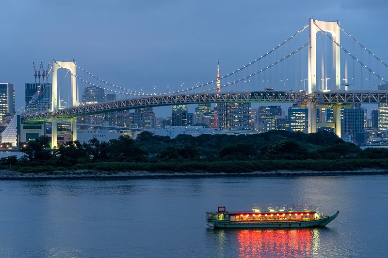 "Dusk falling over Tokyo.  This bridge is a very famous on in Japan, called the ""Rainbow Bridge"".  Now, if you are anything like me...this name seems a little odd - it's a white as can be, not exactly a rainbow.  Turns out, during December they light up the bridge in multiple colors...hence the name.  Certainly would be something cool to see.  You can also see the Tokyo Tower in the background."