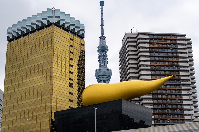 From Akasaka, I took a boat ride down a river.  One famous sight of Japan is this statue (with the SkyTree in the background).  It's supposed to be a flame on top of a beer mug (the building is the Asahi Beer Hall).  No one thinks its a flame...it's definitely a golden poop (an actual Japanese symbol for good luck, called Kin No Unko)