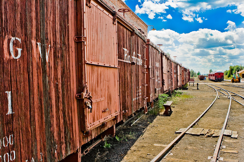 "Chama rail yard. For the longest time I just couldn't get this image to ""work"". I almost threw it away. Finally I tried extremes and... Now I like it.<br /> <br /> The Cumbres and Toltec Scenic Railroad (C&TS) is a narrow gauge heritage railroad running between Chama, New Mexico and Antonito, Colorado. The track was originally laid in 1880 by the Denver and Rio Grande Railroad. Starting in 1970, the railroad began to take tourists on six-hour trips between the two towns, using steam locomotives."
