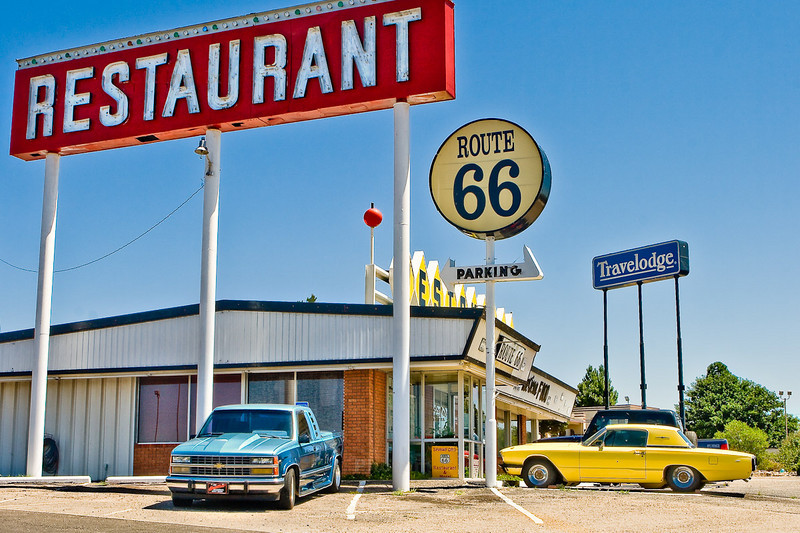 Classic T-Bird parked in front of classic restaurant, Santa Rosa, New Mexico, on what used to be the historic Route 66.