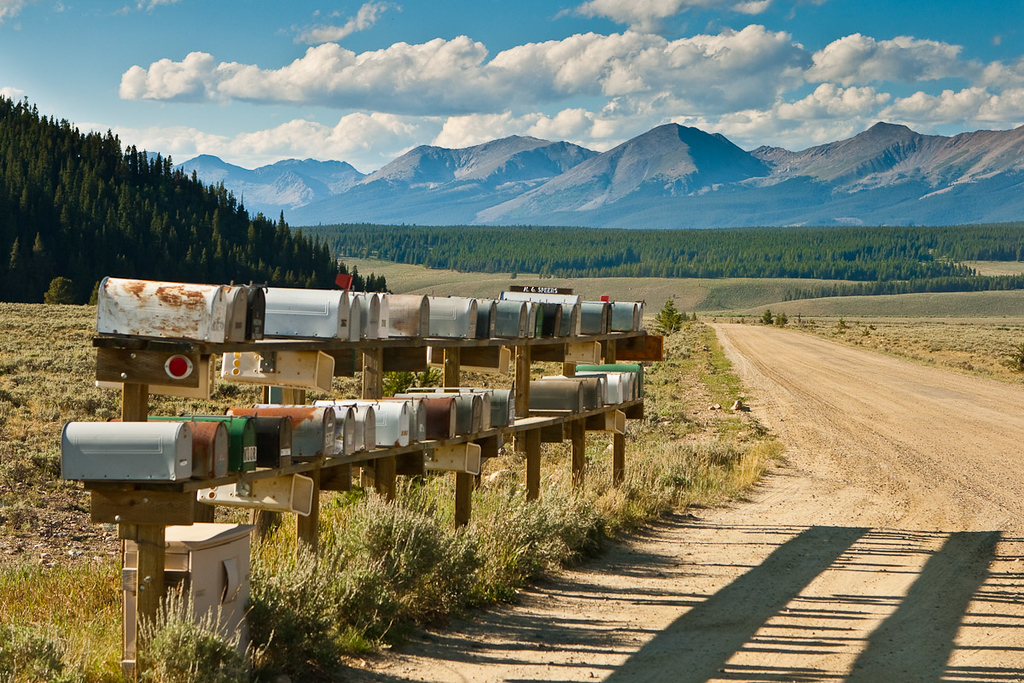 Just a group of mail boxes with Taylor Park in the background. Between Tincup and Taylor Park reservoir, Colorado.