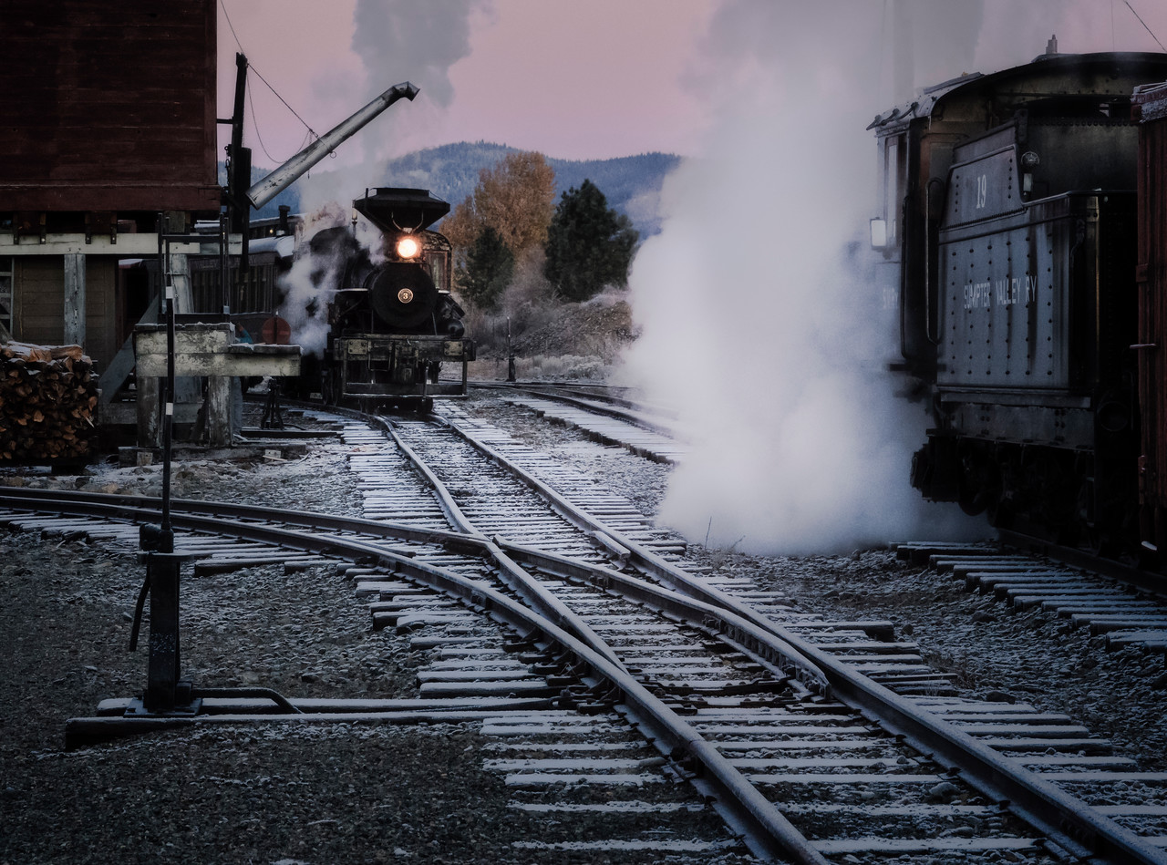 Frosty rails and steam trains
