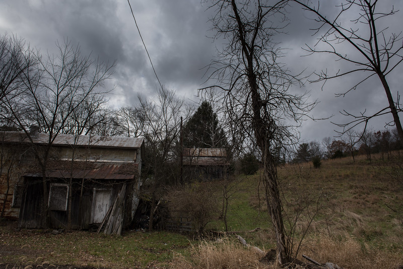 Back yard of abandoned house in Shanks