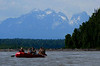 The Susitna River raft trip from McKinley Lodge to Talkeetna. It was mostly pretty calm, and very warm in all the protective gear. The water is glacial meltwater and was near freezing, but we were sweating! This is the other raft in our group.