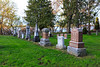 Row of tombstones in Belleville Cemetery.