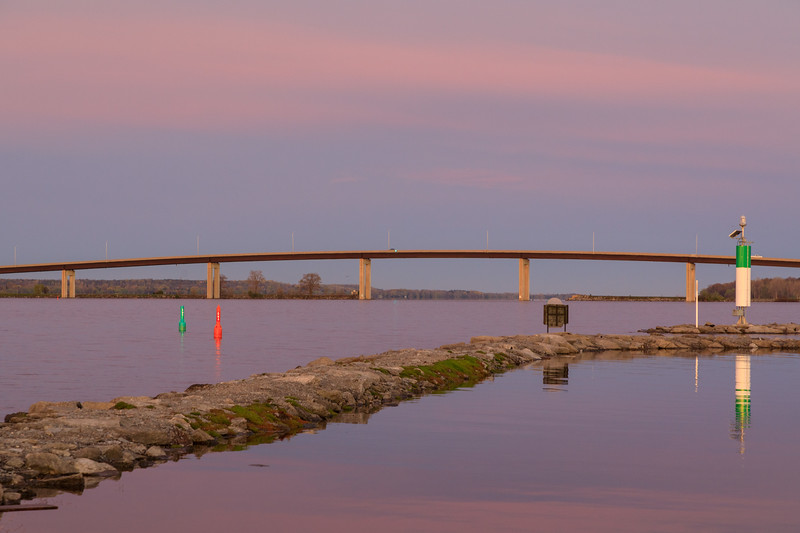 Jusst before sunrise, view towards Norris Whitney bridge from breakwater at Jane Forrester Park in Belleville.