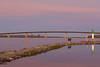 Jusst before sunrise, view towards Norris Whitney bridge from breakwater at Jane Forrester Park in Belleville.