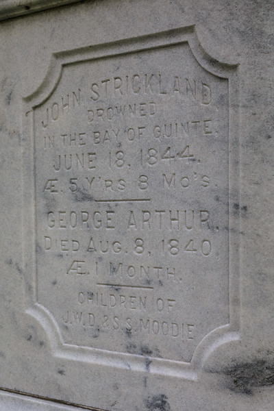 Inscription on back of Moodie tomstone in Belleville Cemetery.