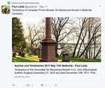 Paul Lantz tweet of photo of tombstone of Sir Mackenzie Bowell retweeted by Mackenzie Bowell.