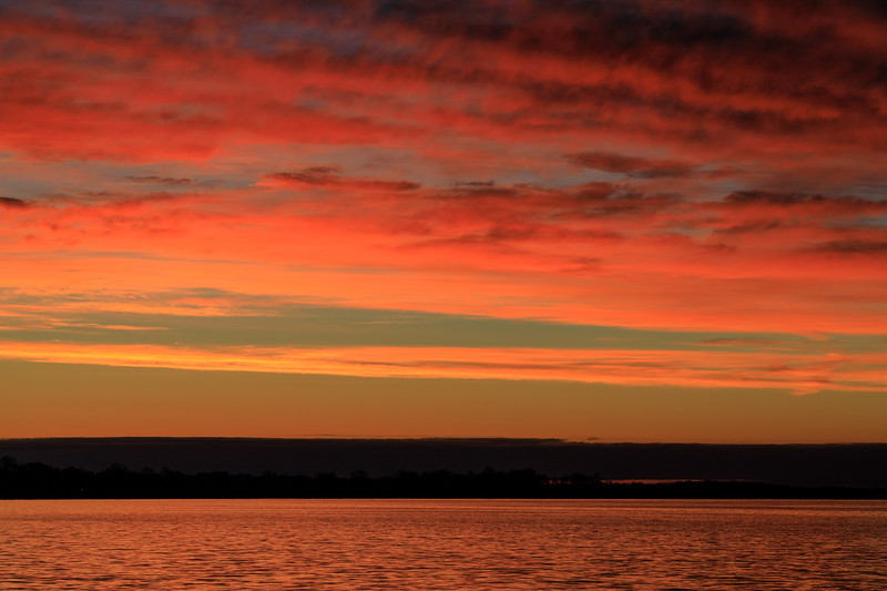 Looking down the Bay of Quinte from Jane Forrester Park in Belleville before sunrise.