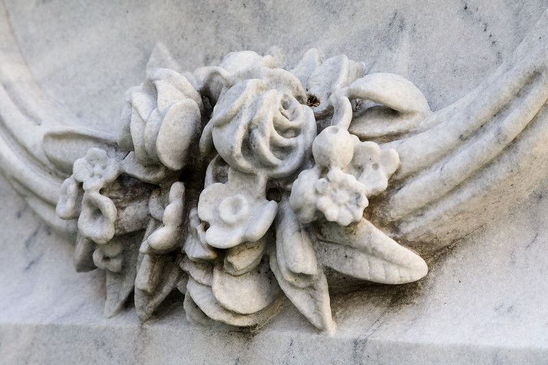 Flowers carved on Moodie tombstone in Belleville Cemetery.