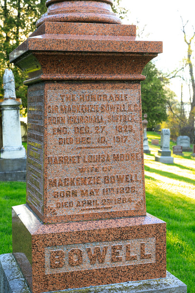 Tombstone of the Honorable Sir Mackenzie Bowell, K.G., born [R]ickinghall, Suffold, England December 27, 1823 and died December 10th 1917. Prime Minister of Canada. Birthplace spelling on tombstone seems to be missing R.