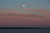 Looking up the Bay of Quinte around sunrise. Full moon in the sky 2016 June 21st.