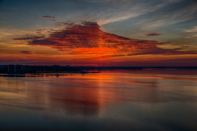 Clouds reflected in the Bay of Quinte before sunrise. Looking down the Bay from the Norris Whitney Bridge. HDR efx darj.