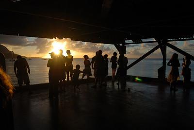 Hanalei Pier tourists, July 28, 2012