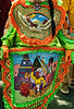 Detail from a Big Queen outfit. Although some components are recycled, the Indian outfits are created new every year. Some of the Indian outfits have elaborate handmade beadwork tableaus showing (possibly apocryphal) scenes from American Indian life and lore.