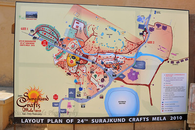 Map and layout plan of 24th (twenty fourth) Surajkund Crafts Mela 2010 Plenty of opportunity for shopping deals, bargains and purchases or just enjoy the performances at the Surjakund Crafts Mela 2010 held in February in Faridabad, Haryana, India.