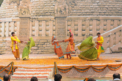 Dancers from Mathura perform the Raas Leela of Bhagwan Krishna and Radha at the open theatre called Chaupal at Suraj Kund Mela 2009. Held in Haryana (outskirts of Delhi), North India the Suraj Kund Mela is an annual fair held near Delhi. Folk dances, handicrafts and a lot of fun.