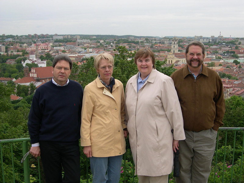 Vilnius, capital of Lithuania.  Dick and Susan are on a hill overlooking Vilnius.  Standing with us are Lothar from the NATO audit board and his wife Hanni, who was accompanying him on the trip as well.