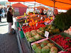 One of the vegetable stalls at the weekend market by the harbor.