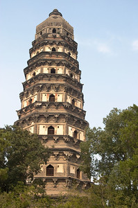 A closer view of the Pagoda of Yunyan Temple. It is approximately 48m tall and has a 4 degree lean. Visitors may only enter the first floor.
