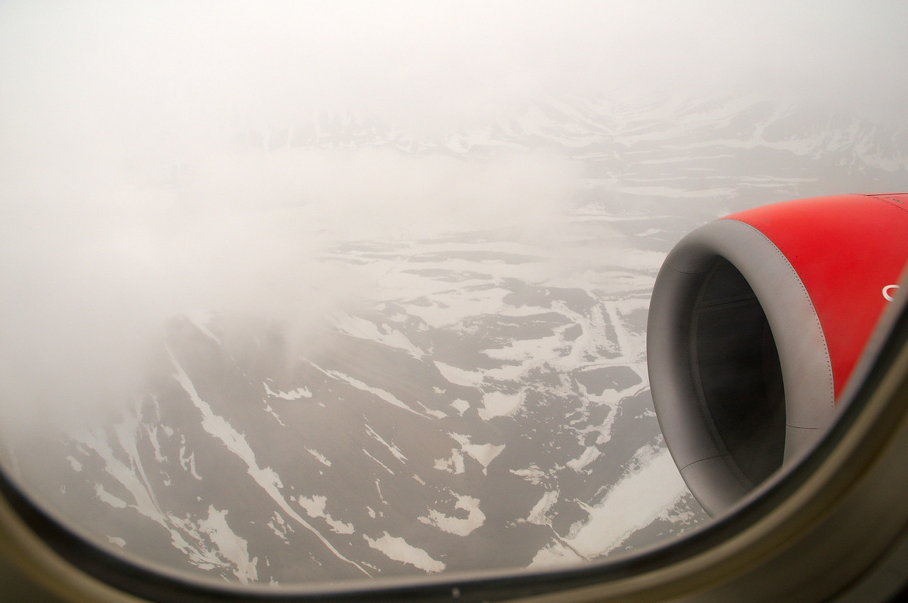 First sight of the arctic wasteland through the clouds