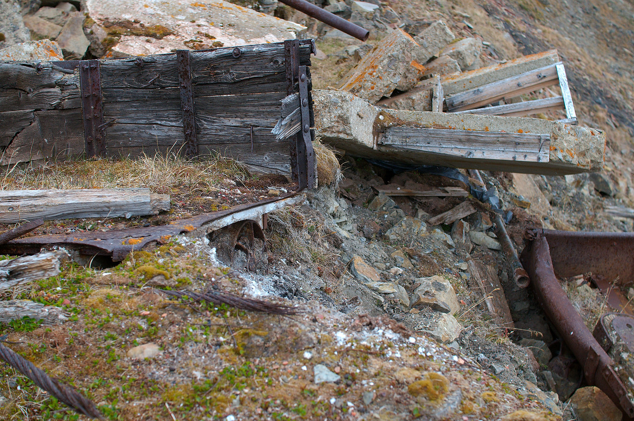 Nature is ever so slowly reclaiming the area around the abandoned mine. In 1958 the entrance to the mine was demolished.