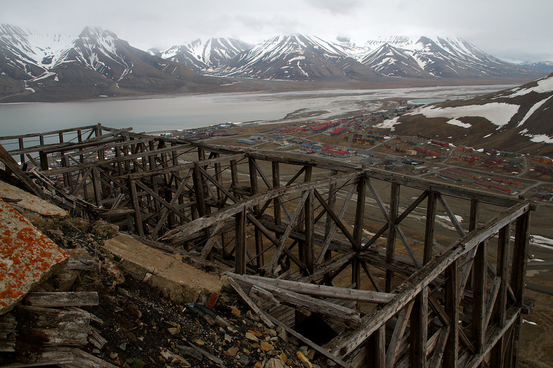 The abandoned coal magazine seen from above. Longyearbyen and Adventfjorden below.