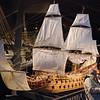 A scale model of the Vasa showing it's sail arrangement and original colour