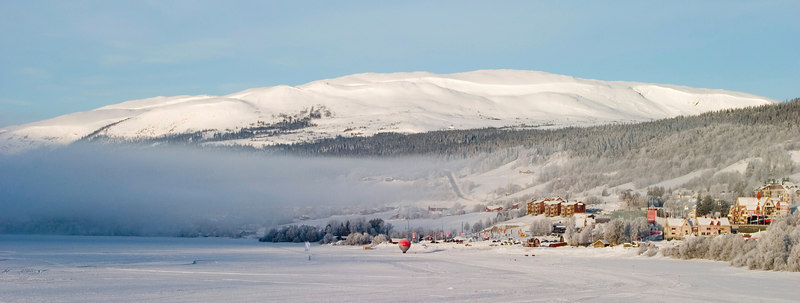 Fog hangs over Åre Lake in central Sweden during the 2007 FIS Alpine Ski World Championships.