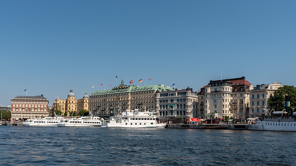 Stockholm July 2018. Strømkajen og Grand Hotel.