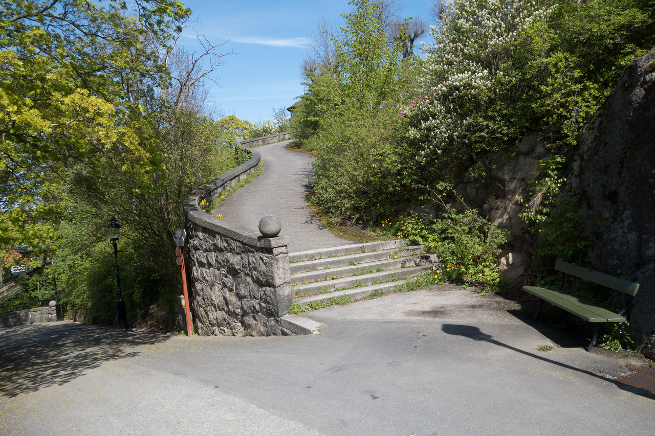 Walking from the entrance up to the interesting parts of Skansen.