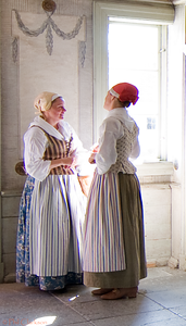 Manor House, Skansen open air museum, Stockholm. Ladies in period costume.