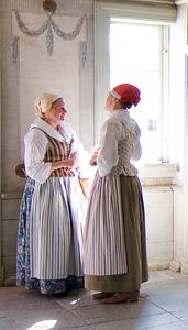 Manor House, Skansen open air museum, Stockholm. Ladies in period costume.