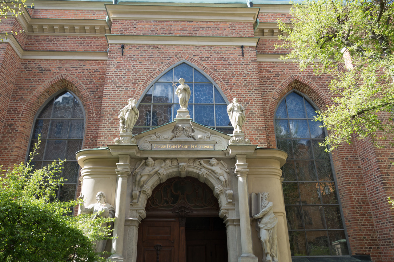 The entrance to the German-language church that was in Gamla Stan (and still has services in German today).