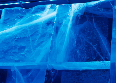Light takes a wavy course through ice blocks. Absolut Ice Bar, Stockholm, Sweden.