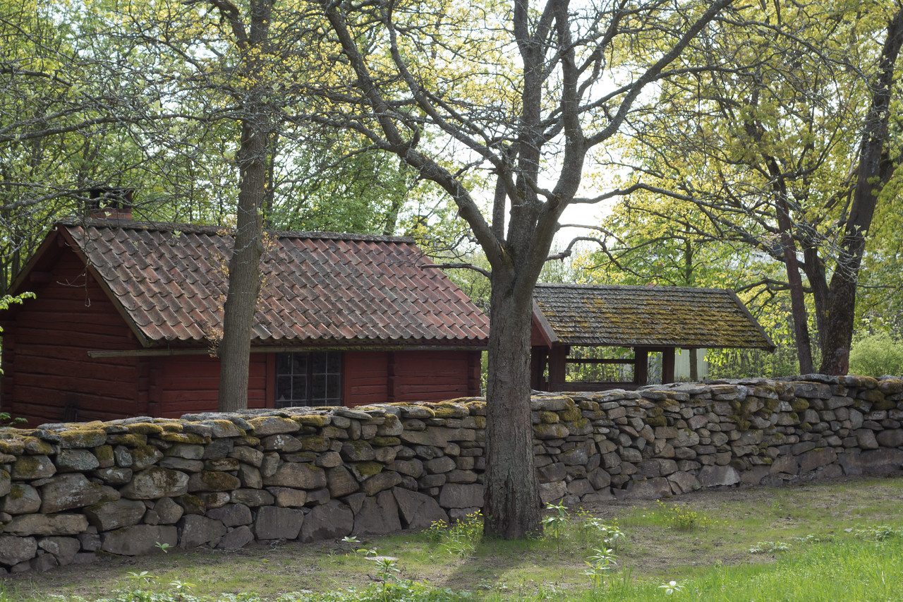 A blacksmith's shop. The wall-less building was where horses were shod.
