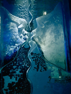 The outside of this ice block is perfectly smooth. The sculpture is on the inside. This is possibly the 'coolest' feature of the Absolut Ice Bar in Stockholm, Sweden.