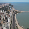 Aerial view of Lake Shore Drive as it goes along the shores of Lake Michigan.